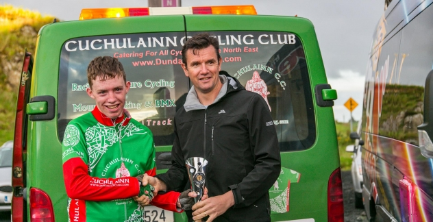 Lorcan Kilkenny winner of Round 10, being presented with his trophy from the Bike's Stations Karl Dolan