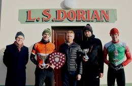 L-R Philip Kerley (Cuchulainn CC) Neill Delahaye (Fix Rouleurs), Mickey Clarke (Carrick Cycles - Sponsor), Ian Inglis (Black Rose) & Liam Dolan (Cuchulainn CC)